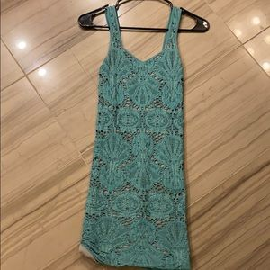 Teal seamless dress with grey underlay